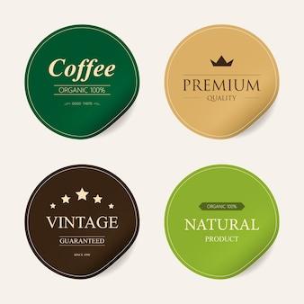 Etiqueta natural e etiqueta orgânica da cor verde da etiqueta.