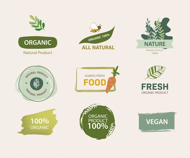 Etiqueta orgânica e design de cor verde de rótulo natural. marca fresca da fazenda garantida.