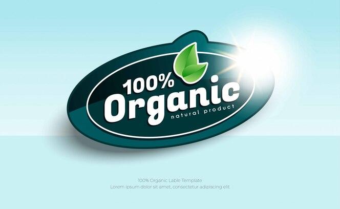 Etiqueta ou adesivo 100% orgânico natural