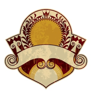 Etiqueta ou logotipo vintage antigo, estilo heráldica