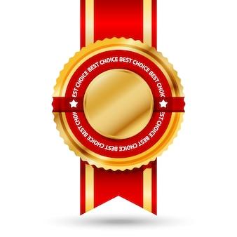 Etiqueta premium dourada e vermelha do best seller com o texto -melhor escolha- ao redor. isolado