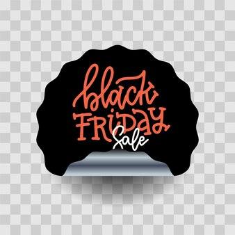 Etiqueta preta da curva redonda da venda de sexta-feira. ilustração realista com letras de mão desenhada. círculo preto com sombra em fundo transparente.