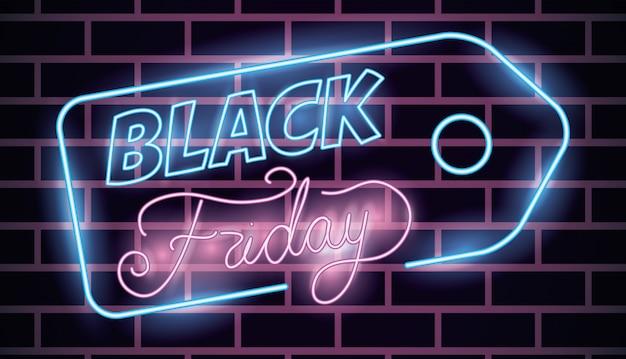 Etiqueta preta das luzes de néon de sexta-feira