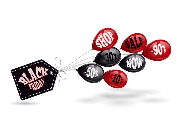 Etiqueta preta de sexta-feira e balões pretos e vermelhos.