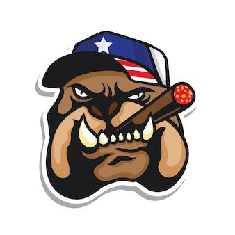 Etiqueta principal do chapéu da bandeira dos eua do logotipo da cabeça do buldogue