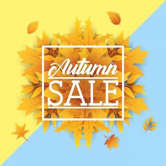 Etiqueta quadrada de venda outono