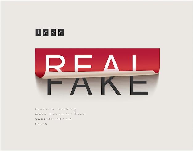Etiqueta real / falsa descascada fora da ilustração
