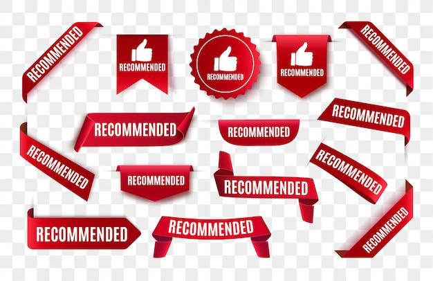 Etiqueta recomendada isolada. etiqueta vermelha ou adesivo. banner de sinal de recomendação