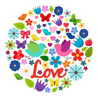 Etiqueta redonda de cartão de amor de primavera com flores, borboletas e dois pássaros bonitos isolados