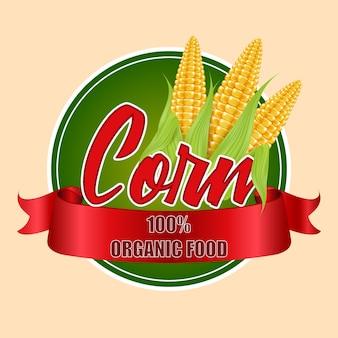 Etiqueta redonda ou adesivo com espigas de milho.