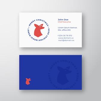 Etiqueta, sinal ou logotipo de rena de vetor abstrato de natal e modelo de cartão de visita