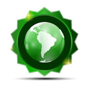 Etiqueta verde com mapa globo
