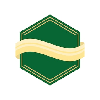 Etiqueta verde geométrica