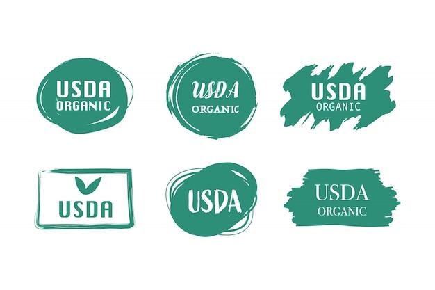 Etiqueta verde orgânica certificada da usda e mão desenhada banner garantida.