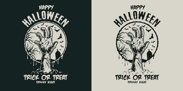 Etiqueta vintage assustadora de halloween com mão de zumbi e inscrições em fundos escuros e claros