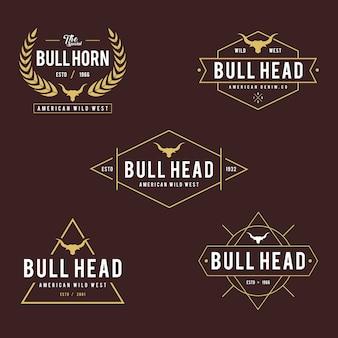 Etiqueta vintage com silhueta da cabeça do touro, tema texas wild west