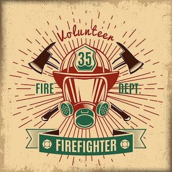Etiqueta vintage de combate a incêndios