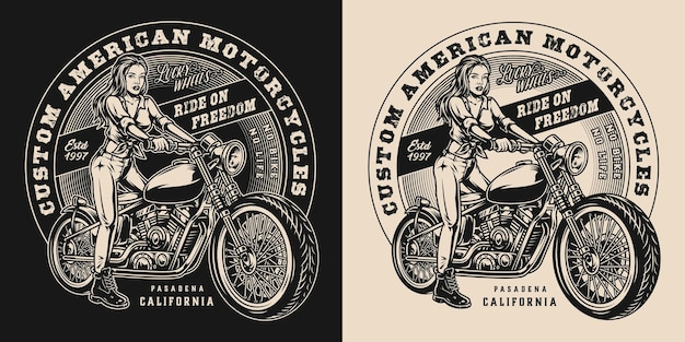 Etiqueta vintage de motocicleta personalizada com linda motociclista e motocicleta clássica em estilo monocromático