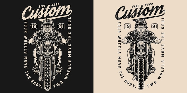 Etiqueta vintage de motocicleta personalizada com piloto de bulldog zangado andando de moto em fundos escuros e claros