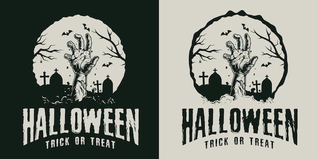 Etiqueta vintage monocromática de halloween com mão de zumbi no cemitério
