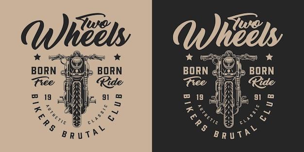 Etiqueta vintage monocromática de motoracers club com inscrições e motocicleta personalizada
