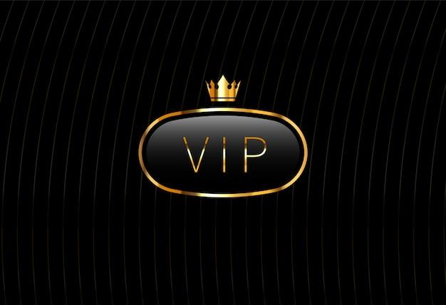Etiqueta vip de vidro preto com coroa dourada isolada