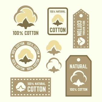 Etiquetas, adesivos e elementos de design de algodão natural, conjunto de etiquetas de roupas de algodão orgânico