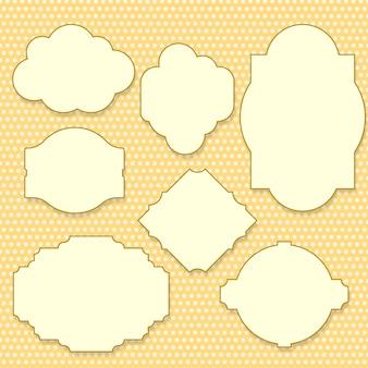 Etiquetas amarelas vintage conjunto com espaço de texto