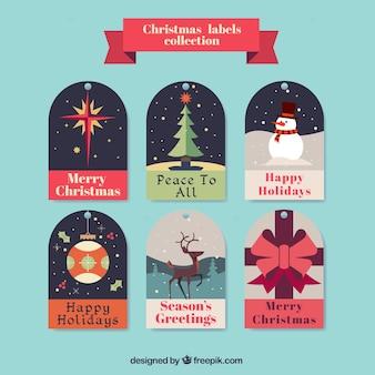 Etiquetas bonitas com cenas do natal