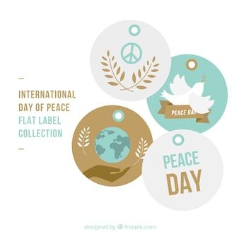 Etiquetas bonitas da paz bloco do dia