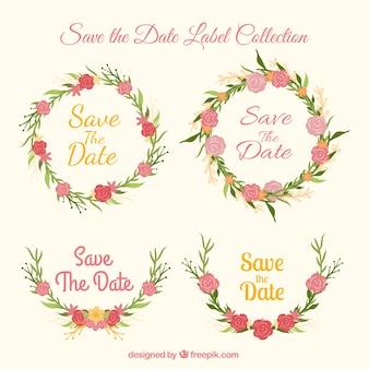 Etiquetas bonitas do casamento com flores