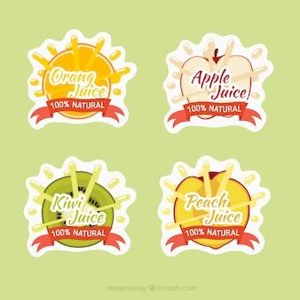 Etiquetas bonitos de deliciosos sucos de frutas