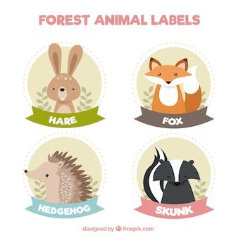 Etiquetas bonitos do vintage de animais adoráveis