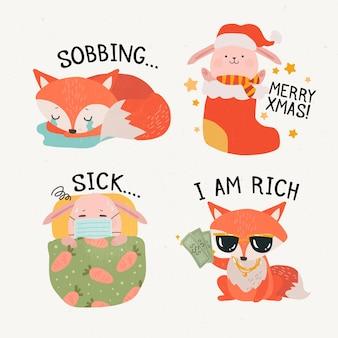 Etiquetas bonitos dos desenhos animados da raposa e do leitão