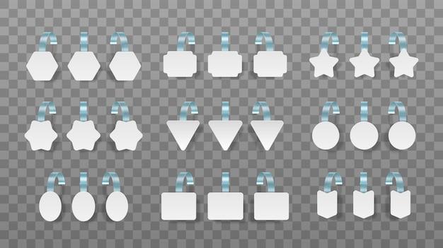 Etiquetas brancas em branco isoladas em transparentes