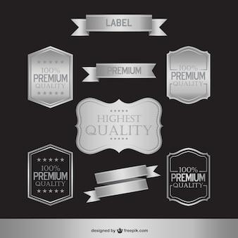 Etiquetas brilhantes de prata e emblemas