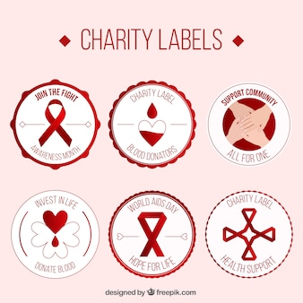 Etiquetas caridade de doadores de sangue