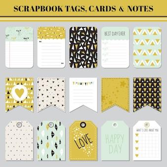 Etiquetas, cartões e notas de álbum de recortes - para aniversário, chá de bebê, festa, design