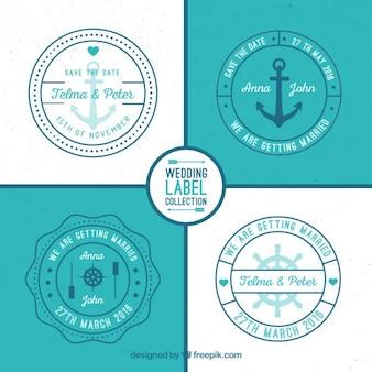 Etiquetas casamento náutico arredondados