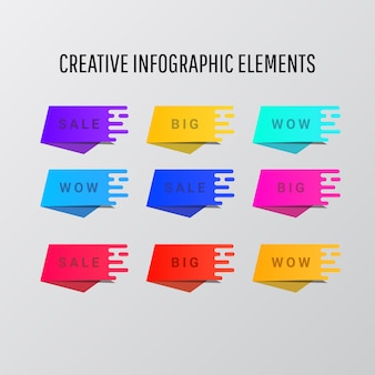 Etiquetas coloridas abstratas ou elementos de fitas