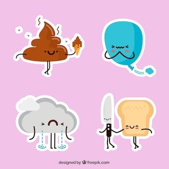 Etiquetas coloridas com elementos engraçados