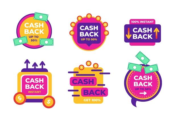 Etiquetas coloridas de cashback isoladas no branco