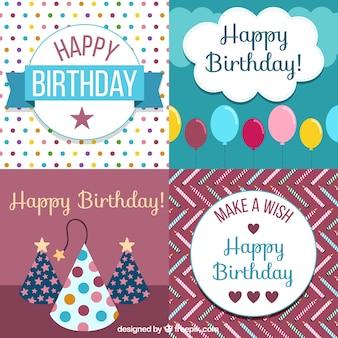 Etiquetas coloridas de decoração para aniversários