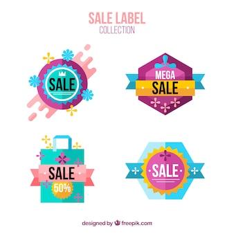 Etiquetas coloridas de venda com design plano