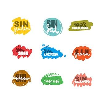 Etiquetas coloridas desenhadas à mão em espanhol sem lactose, sem açúcar, sem glúten, sem sal, sem ovos