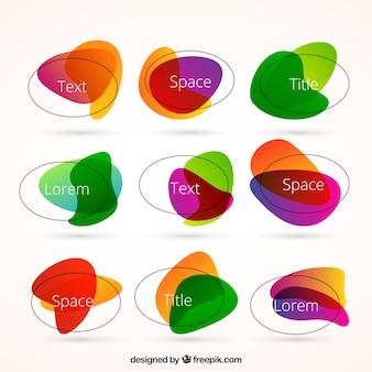 Etiquetas coloridas em estilo abstrato