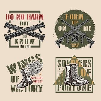 Etiquetas coloridas militares vintage