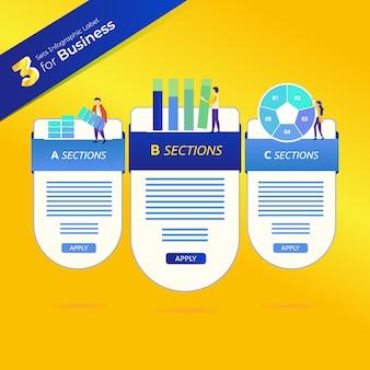 Etiquetas com infográficos para negócios em 3 conjuntos de pacotes