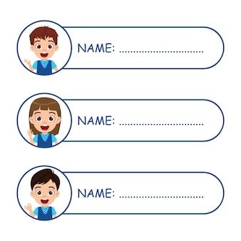 Etiquetas com nomes de crianças fofas para escola