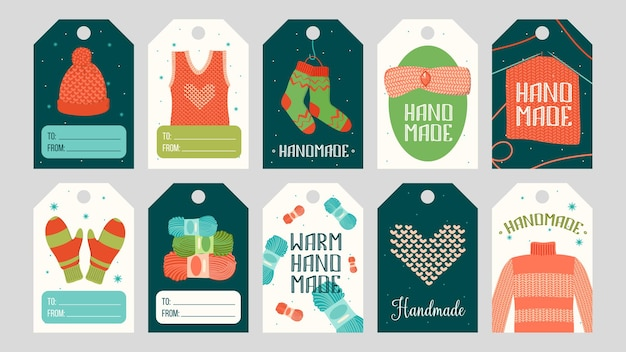 Etiquetas com roupas quentes feitas à mão